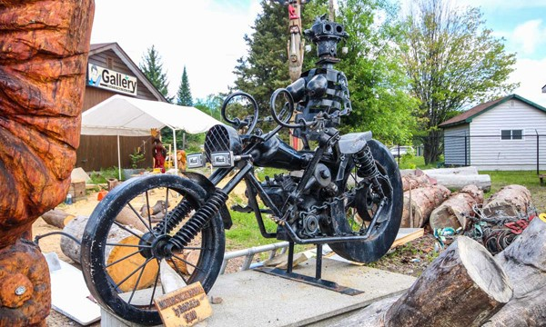Motorcycle  and wood carving